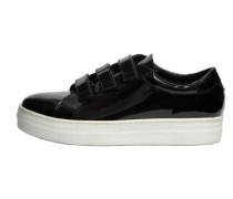 Klettverschluss-Patentleder-Sneaker schwarz