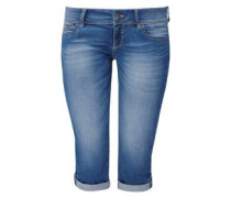 Slim: Used-Jeans im Capri-Stil blau