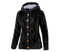 Fleece Kapuzen-Fleecejacke Damen schwarz