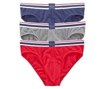Slip (3 Stück) sportlicher Slip mit weichem Webbund blau / grau / rot