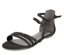 Sandale mit Glitzersteinchen schwarz