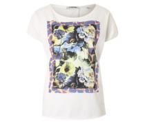 T-Shirt mit Frontprint blau / hellgelb / weiß