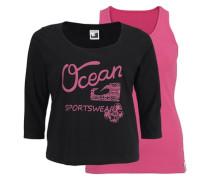 2-in-1-Shirt pink / schwarz