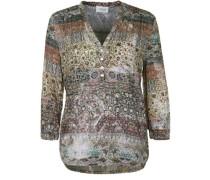 Bluse mit Tunika-Ausschnitt creme / braun / hellgrün