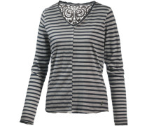 V-Langarmshirt Damen grau / schwarz