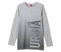 Slim: Longshirt mit Print grau