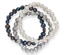 Armband mit Süßwasserzuchtperlen 3er-Set dunkelblau / grau / weiß