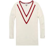 Pullover 'Deep vn sweater l/s 22' naturweiß