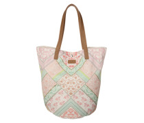 Shopper mit Blumenprint mint / rosa / naturweiß