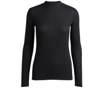 High-Neck-Langarmshirt schwarz