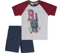 Set T-Shirt + Shorts für Jungen dunkelblau / graumeliert / dunkelrot / weiß