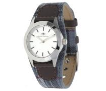 Armbanduhr 5408004 blau / dunkelbraun / silber