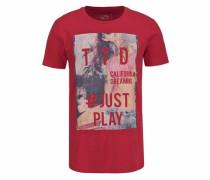 Denim T-Shirt creme / grau / rot