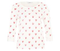 T-Shirt 'Onljess' mit süßen Herzmotiven offwhite / rostbraun