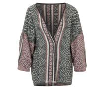 Kimono mit Fransenenden grau / pink