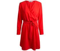 Langärmeliges Wickel Kleid rot