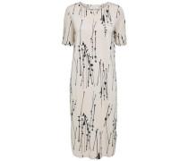 Modalmix-Kleid mit kurzen Ärmeln hellgrau / schwarz
