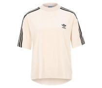 Samt-T-Shirt mit Ripp-Kragen beige