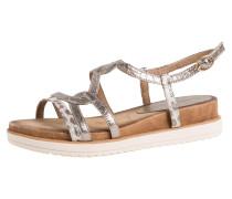 Sandale hellbraun / silber / weiß