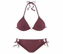 Triangel-Bikini gold / bordeaux