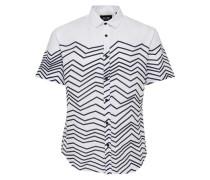 Bedrucktes Kurzarmhemd schwarz / weiß