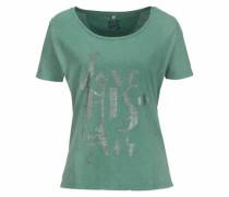 T-Shirt grau / smaragd