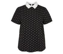 Kurzärmelige Bluse schwarz / weiß