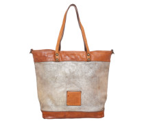 Shopper mit Metallik-Print cognac / gold