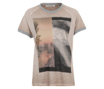 Printshirt mit Glitzerbündchen beige