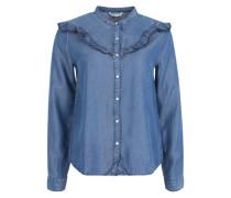 Jeansbluse mit Rüschen 'Onlrikka' blue denim