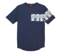 Shirt mit asymmetrischem Print dunkelblau / weiß