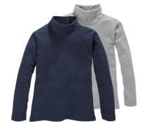 Rollkragenshirt (Packung 2 Stück) für Jungen blau / grau
