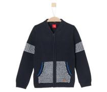 Strickjacke mit Reißverschluss nachtblau / royalblau / weiß
