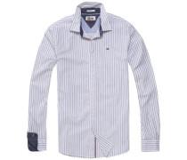 Hemd 'tjm Basic SLS STP Shirt L/S 16' nachtblau / weiß
