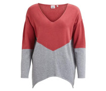 Strick-Pullover grau / rot