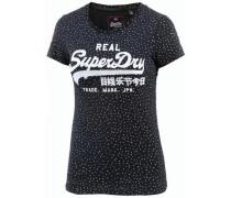 T-Shirt Damen navy / naturweiß