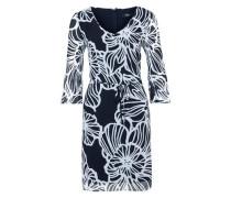 Gemustertes Kleid mit Plissee-Ärmeln dunkelblau / weiß