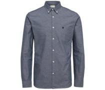 Oxford-Langarmhemd taubenblau / weiß