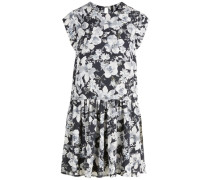 Blumenbedrucktes Kleid grau