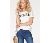 Rundhalsshirt 'dance' gold / weiß
