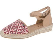 'Ines' Sandaletten hellbraun / rot
