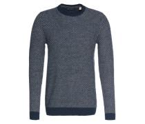 Grobstrick-Pullover navy / weiß
