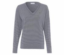 V-Ausschnitt-Pullover marine / weiß