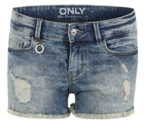 Denim Shorts 'Onlcoral' im Destroyed-Look blue denim / silber / weiß