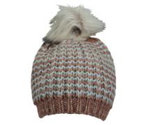 PIECES Mütze aus Grobstrick blau