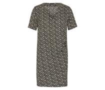 Kleid mit Raffung grau / schwarz / weiß