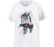 Tropical Printshirt Damen weiß