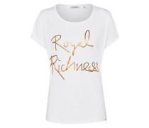 T-Shirt mit Logo-Print gold / weiß