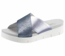 Pantolette taubenblau / weiß