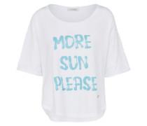 T-Shirt mit Logo-Print hellblau / weiß